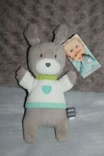 DOUDOU ORCHESTRA LAPIN GRIS PULL COEUR  MUSICAL 100% NEUF ETIQUETTE