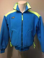Vtg 80s 90s Columbia Fleece Ski Jacket Ladies M Neon Blue Zip Coat Womens Shell