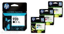 GENUINE ORIGINAL HP 920 Black & HP 920XL Cyan Magenta Yellow In Date 06/2017 NEW