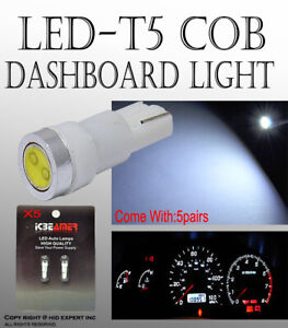 5 pairs COB LED T5 17 37 70 2721 White Light Bulbs Dashboard Indicator Gauge M91