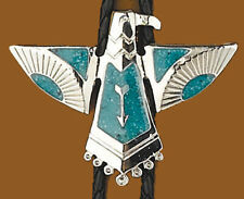 THUNDERBIRD Southwestern Native American Green Turquoise BOLO TIE Leather Strap
