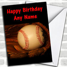 Baseball Ball & Glove Personalized Birthday Card