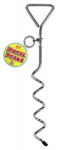 DOG METAL STEEL GARDEN GROUND TIE OUT TETHER SCREW STAKE SPIKE POST CAMPING