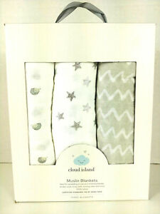 Cloud Island ~ Muslin Blankets ~ 3 pack of baby boy/girl blankets ~ 100% cotton