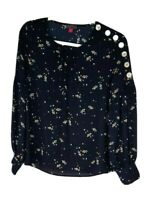 Vince Camuto NEW Womens XS Floral Print L/S Peasant Blouse Top Multi MSRP $89