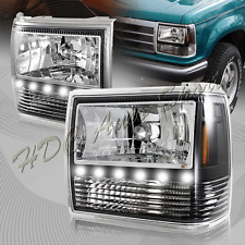 For 1991-1994 Ford Explorer Black Housing 1-Piece LED HeadLights+Bumper+Corner