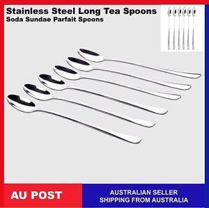 Stainless Soda Spoon Sundae Long Teaspoon Parfait Iced Coffee Cafe Cutlery S1