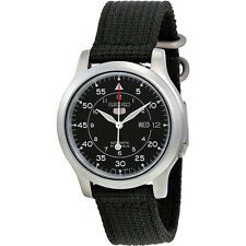 Seiko Mens SNK809 Seiko 5 Automatic Stainless Steel Watch & Black Canvas Strap
