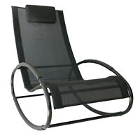 Patio Rocking Lounge Chair Orbital Zero Gravity Chaise w/ Pillow Black