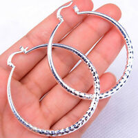 Women's 925 Sterling Silver Diamond-Cut 48*54mm Medium Size Hoop Earrings H906