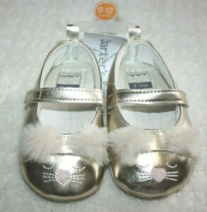 Carter's crib Gold shoes sandals Bunny Cat Easter Rabbit Size 9-12, 6-9 NEW NWT