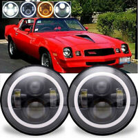 For Chevrolet Camaro LED Headlight 7'' Inch Round Projector Amber Halo DRL Light