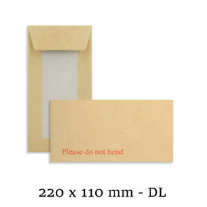 PLEASE DO NOT BEND HARD CARD BOARD BACKED ENVELOPES BROWN DL SIZE MAILER