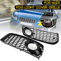 Black RS5 Style Honeycomb Fog Light Grille Cover For Audi S5 B8 A5 S-Line