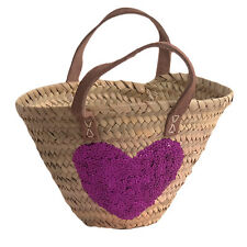 Child's Palm Shopping Basket with Pink Sequin Heart and Leather Handles