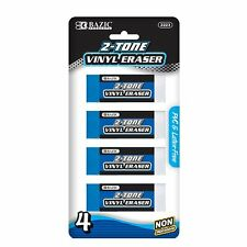 2-Tone Vinyl Eraser PVC & Latex Free Pack of 4 NEW