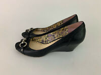 COACH black leather PEEP TOE wedge heels Women's 9