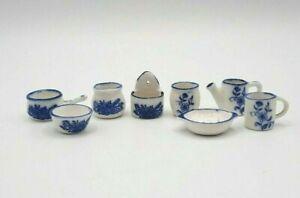 Lot of 8 Vintage Pieces Miniature Dollhouse Cookware Blue White Salt Cellar