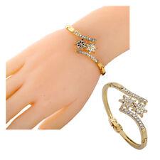 Pretty Gold Plated Crystal Flower Shape Symmetrical Bangle Bracelet Gifts Lady