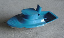 "Unique Welby Recycled Tin Teal Color Boat 5 1/2"" Long"