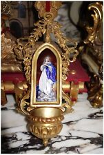 ** SIGNED FRENCH ANTIQUE ENAMEL TERRACOTTA MADONNA VIRGIN MARY WATER FONT ANGELS