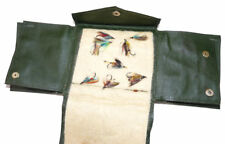 Hardy Alnwick vintage green pigskin multi fold cast & fly wallet with flies