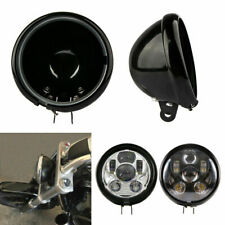 """5.75"""" Black Motorcycle Headlight Cover Housing Holder Bucket For Harley Dyna"""