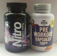 ♈Best Strongest Pre workout X 60 + Nitric Oxide Booster X 100 Capsules + 25 Free