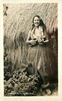Hula Girl 1930s Ukulele RPPC Photo Postcard Honolulu Hawaii 20-1155