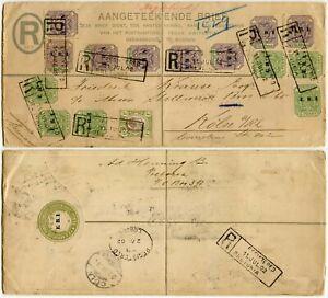 TRANSVAAL 1902 ERI ZAR REGISTERED STATIONERY UPRATED MIXED FRANKING COLN VIA GB