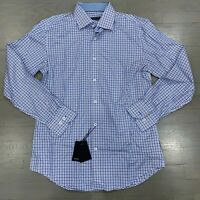 Bugatchi Blue Plaid Long Sleeve Trim Fit Check Dress Shirt Men's Size 16 New