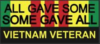 "7"" x 3"" Vietnam Veteran Bumper or Window Sticker.  $3.49 Ships FREE"