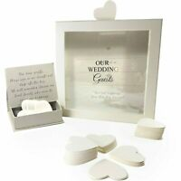 Wedding Guest Book Wishes Drop Box + 80 Heart Cards Reception Guestbook Gift