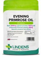 Lindens Evening Primrose Oil 1000mg 90 Capsules for Skincare PMS Menopause