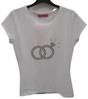 Ladies Diamante T-Shirt Rhinestones Top White - Rings