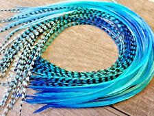 Feather Hair Extensions ombre Grizzly Solid royal Blue aqua turquoise long beads