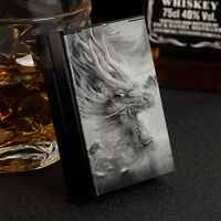 Laser Engraved DRAGON Aluminum Metal Cigarette Case Holds 20 Cigarettes Black