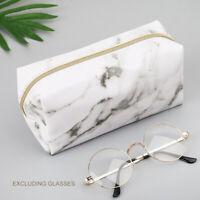 Large Cute Zipper School Pencil Case Pen Box Bags Marble Makeup Storage Supplies