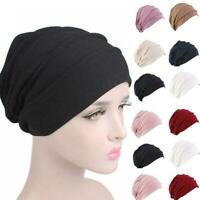 Women Indian Stretchy Cotton Chemo Pleated Turban Hat Cap Wrap Head Hijab W7Z9