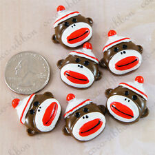 12pcs Red Funky Monkey With Hat Flatback Resin Cabochons Cab Cabochon C10
