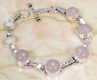 Rose Quartz & 925 Silver Handmade Elegant Bracelet 215mm & gift-box