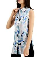 Alfani Womens Blouse White Blue Size XL Button-Front Printed Tunic $69- 515