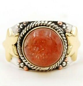 Three Tone Sun Stone 925 Solid Sterling Silver Ring Jewelry Sz 7, ED33-1