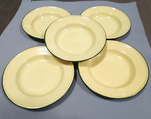 "Set 5 x 8"" Yellow enamel camping round dishes enamelware bowl Plates Vintage"