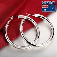 Wholesale Elegant 925 Sterling Silver Filled Women's Big Round Hoop Earrings