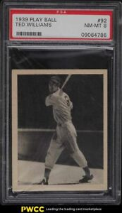 1939 Play Ball Ted Williams ROOKIE RC #92 PSA 8 NM-MT
