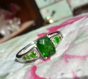 🌺~JTV~STERLING SILVER~RUSSIAN CHROME DIOPSIDE~RING~SZ.10🌺
