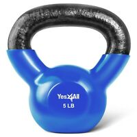 Kettlebell 5 lbs Weights Lifting Workout Gym Fitness PVC Coated Kettlebells
