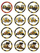 "TRACTOR 2"" ROUND CUPCAKE WAFER PAPER BIRTHDAY CAKE TOPPER (24) #1"