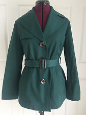 Ellen Tracy Green Cotton Blend Belted Waist Double Breasted Short Trench Sz M